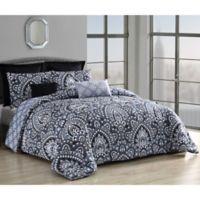 Palma 8-Piece Reversible King Comforter Set in Black