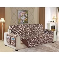 Leaf Reversible Sofa Cover in Chocolate Brown