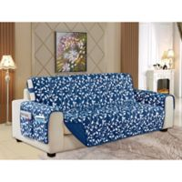 Leaf Reversible Sofa Cover in Navy