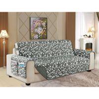 Leaf Reversible Sofa Cover in Grey