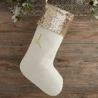Glimmering Gold Sequin Personalized Christmas Stocking