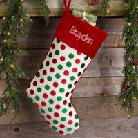 Pleasant Polka Dot Pattern Personalized Christmas Stocking