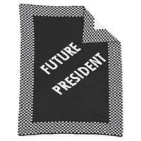 """Future President"" Baby Blanket in Grey/White"