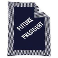 """Future President"" Baby Blanket in Navy/White"