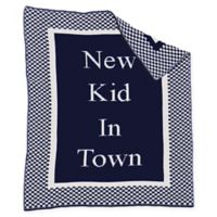 """New Kid in Town"" Baby Blanket in Navy/White"