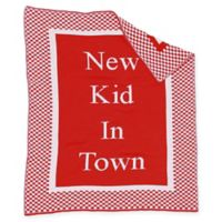 """New Kid in Town"" Baby Blanket in Red/White"