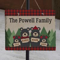 Holiday Bear Family Personalized Slate Sign