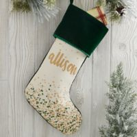 Sparkling Name Personalized Christmas Stocking in Green