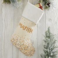 Sparkling Name Personalized Christmas Stocking in Beige