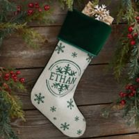 Stamped Snowflake Personalized Christmas Stocking in Green