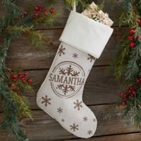 Stamped Snowflake Personalized Christmas Stocking in Beige