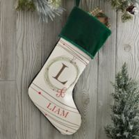Holiday Wreath Monogrammed Christmas Stocking in Green