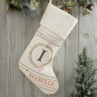 Holiday Wreath Monogrammed Christmas Stocking in Beige