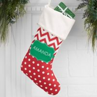 Preppy Chic Personalized Christmas Stocking in Ivory