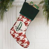 Houndstooth Monogram Personalized Christmas Stocking in Green