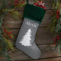 Winter Silhouette Personalized Christmas Stocking in Green