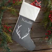 Winter Silhouette Personalized Christmas Stocking in Ivory