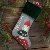 Gnome Family Personalized Christmas Stocking in Green