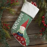 Gnome Family Personalized Christmas Stocking in Ivory