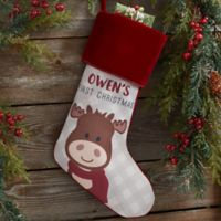 Baby Moose Personalized First Christmas Stocking in Burgundy