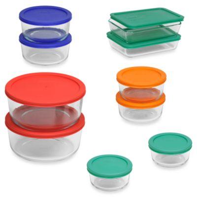 Pyrex Storage Plus 20 Piece Container Set with Color Lids Bed