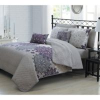 Amber 7-Piece Reversible Twin Quilt Set in Plum