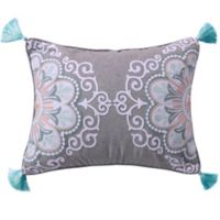 Levtex Home Josie Spa Crewel Medallion Tassel Oblong Throw Pillow in Grey/White