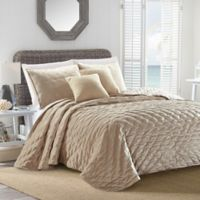 Sherry Kline Dot Luxe Embroidered Queen Quilt Set in Taupe