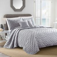 Sherry Kline Dot Luxe Embroidered King Quilt Set in Light Grey