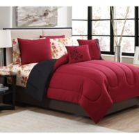 Avondale Manor Floral 9-Piece Reversible Queen Comforter Set in Burgundy