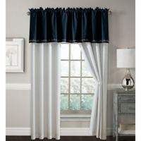 Hilden 84-Inch Rod Pocket Window Curtain Panel Pair in Navy/Grey