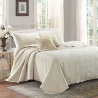 Sherry Kline Shell Luxury Embroidered King Quilt Set in Cream