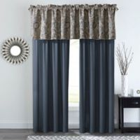 Courtland 84-Inch Rod Pocket Window Curtain Panel Pair in Slate/Gold