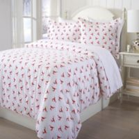 Great Bay Home Printed Flannel Twin Duvet Cover Set in Red/White