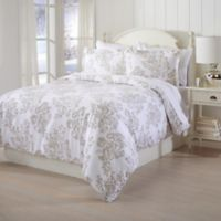 Great Bay Home Printed Flannel Twin Duvet Cover Set in Taupe