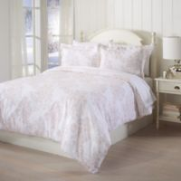 Great Bay Home Printed Flannel Full/Queen Duvet Cover Set in Pink