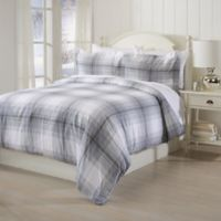 Great Bay Home Printed Flannel Full/Queen Duvet Cover Set in Grey Plaid