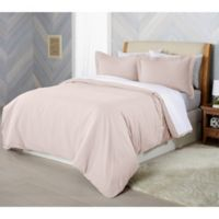 Solid Flannel Full/Queen Duvet Cover Set in Blush