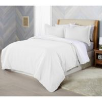 Solid Flannel King Duvet Cover Set in Winter White