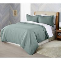 Solid Flannel King Duvet Cover Set in Green