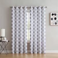 Spiral 84-Inch Grommet Window Curtain Panel in Light Grey/Dark Grey