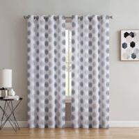Spiral 108-Inch Grommet Window Curtain Panel in White/Navy
