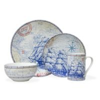 222 Fifth Clipper 16-Piece Square Dinnerware Set in Blue