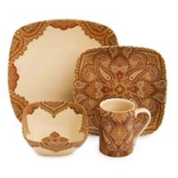 222 Fifth Spice Road 16-Piece Square Dinnerware Set in Terra Cotta