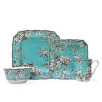 222 Fifth Adelaide 16-Piece Square Dinnerware Set in Turquoise