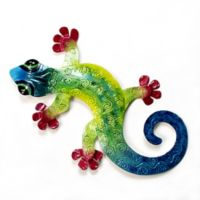 Gecko Metal Wall Art in Blue/Turqoise