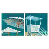Masterpiece Art Gallery Beach Umbrella & Beach Tower 12-Inch x 12-Inch Canvas Wall Art Set