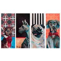 Masterpiece Art Gallery Fancy Dogs 8-Inch x 20-Inch Canvas Wall Art Set of 4