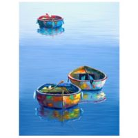 Masterpiece Art Gallery Three Boats Blue 40-Inch x 30-Inch Canvas Wall Art