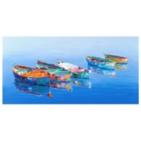 Masterpiece Art Gallery Five Boats Blue 24-Inch x 48-Inch Canvas Wall Art